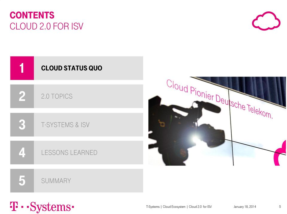 0 topics 3 4 5 T-Systems & ISV Lessons