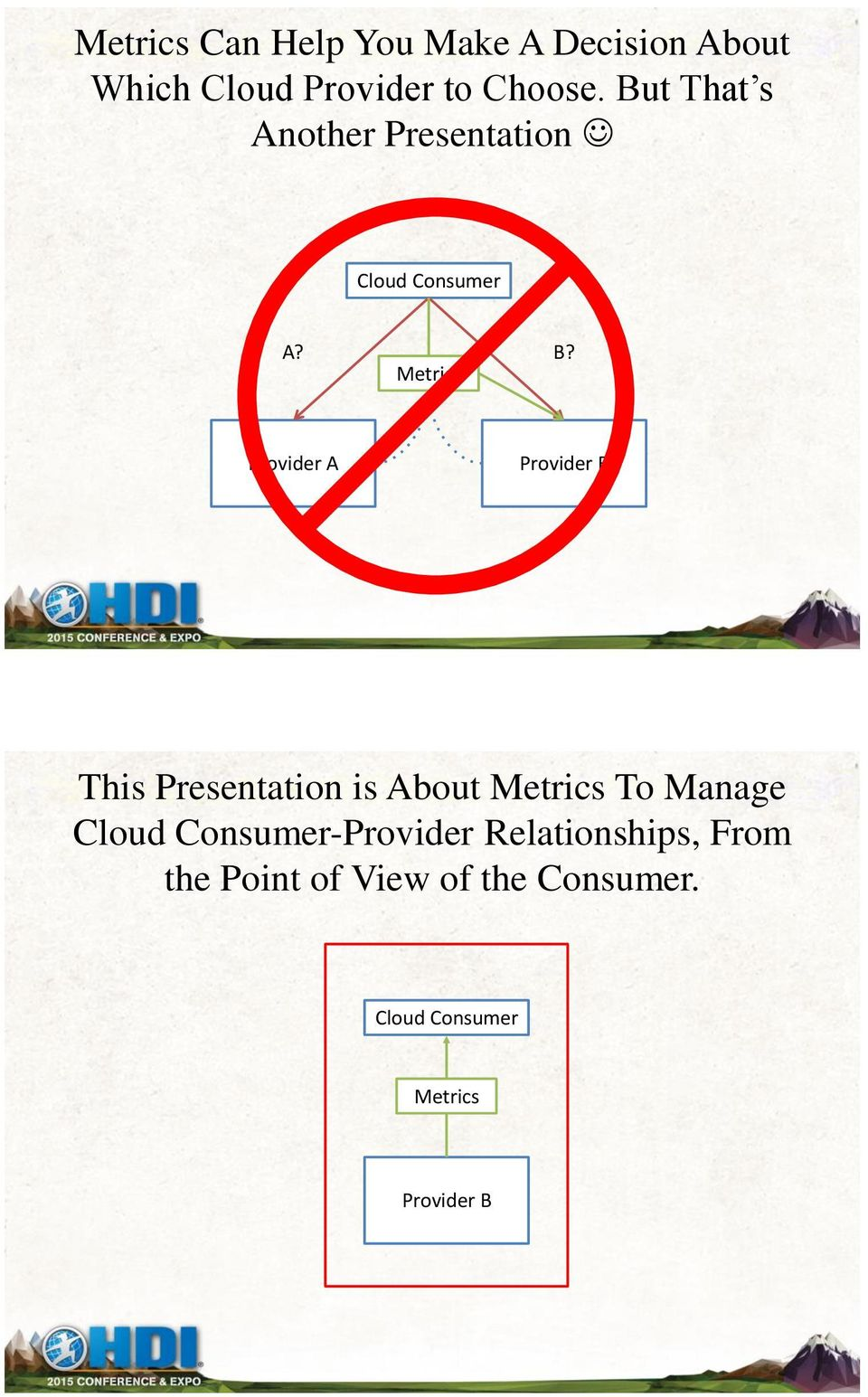Metrics Provider A Provider B This Presentation is About Metrics To Manage