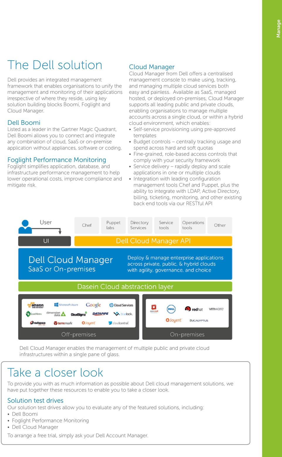 Dell Boomi Listed as a leader in the Gartner Magic Quadrant, Dell Boomi allows you to connect and integrate any combination of cloud, SaaS or on-premise application without appliances, software or