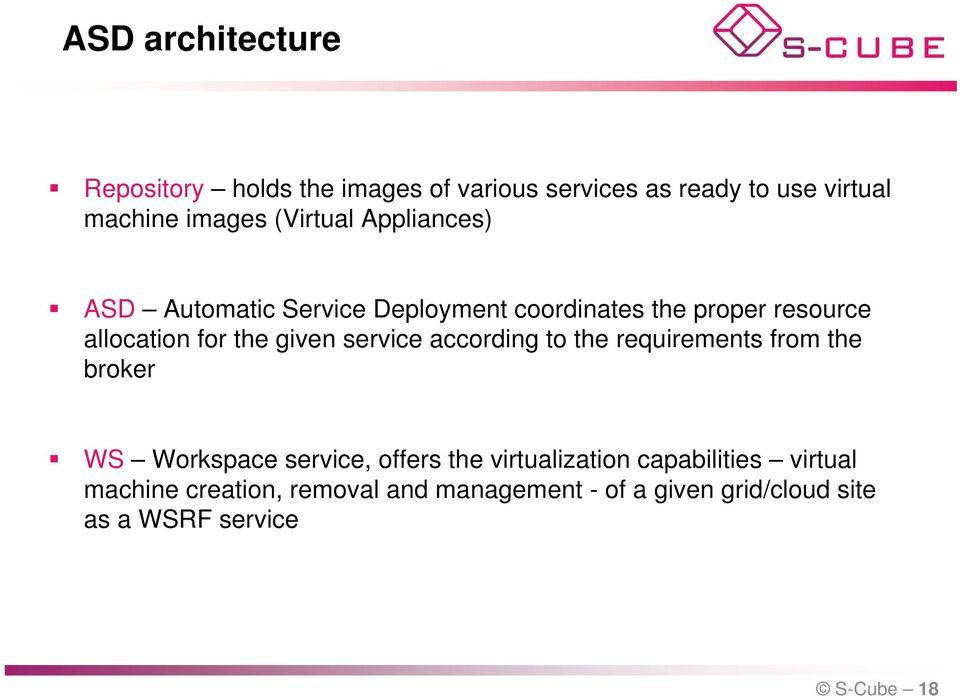 given service according to the requirements from the broker W Workspace service, offers the virtualization