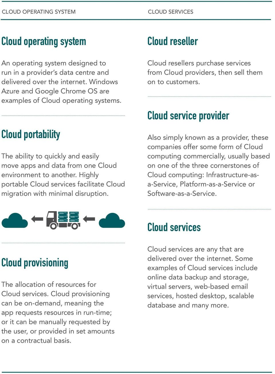 Highly portable Cloud services facilitate Cloud migration with minimal disruption. Cloud reseller Cloud resellers purchase services from Cloud providers, then sell them on to customers.