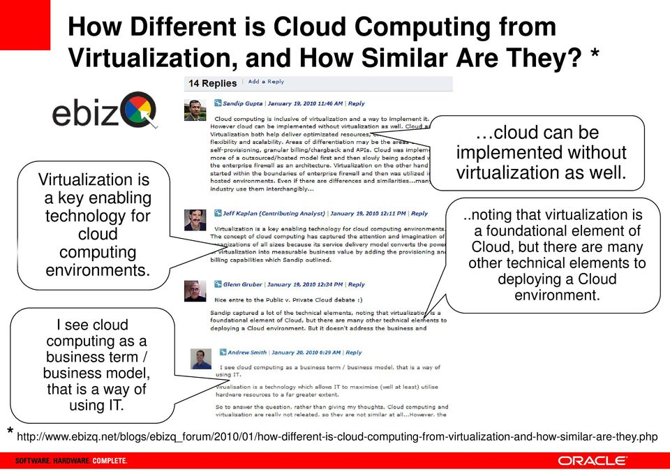 I see cloud computing as a business term / business model, that is a way of using IT. cloud can be implemented without virtualization as well.