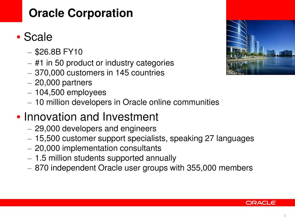 employees 10 million developers in Oracle online communities Innovation and Investment 29,000 developers and