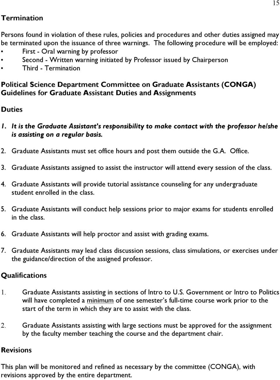 Committee on Graduate Assistants (CONGA) Guidelines for Graduate Assistant Duties and Assignments Duties 1.