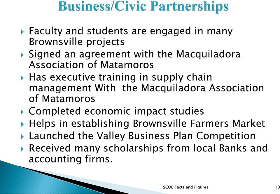 Matamoros Completed economic impact studies Helps in establishing Brownsville Farmers Market Launched the
