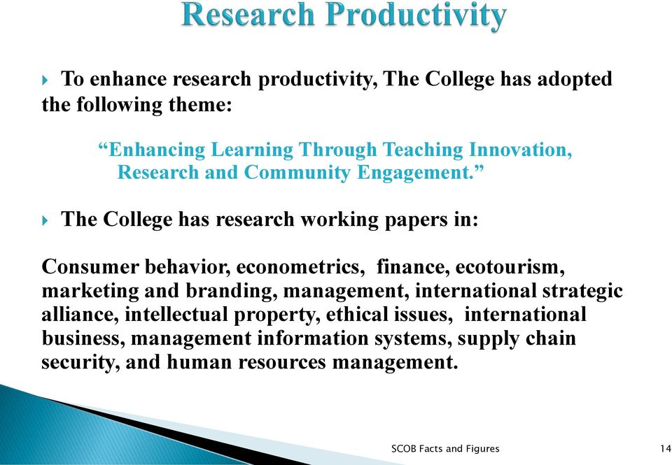 The College has research working papers in: Consumer behavior, econometrics, finance, ecotourism, marketing and branding,