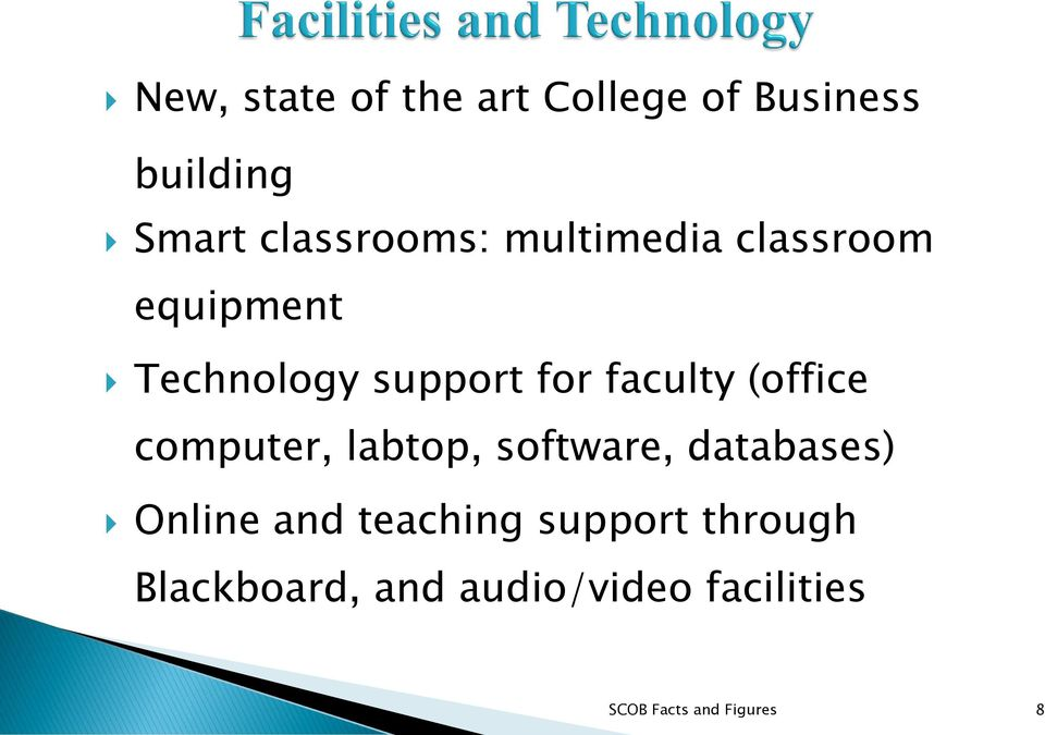 computer, labtop, software, databases) Online and teaching support
