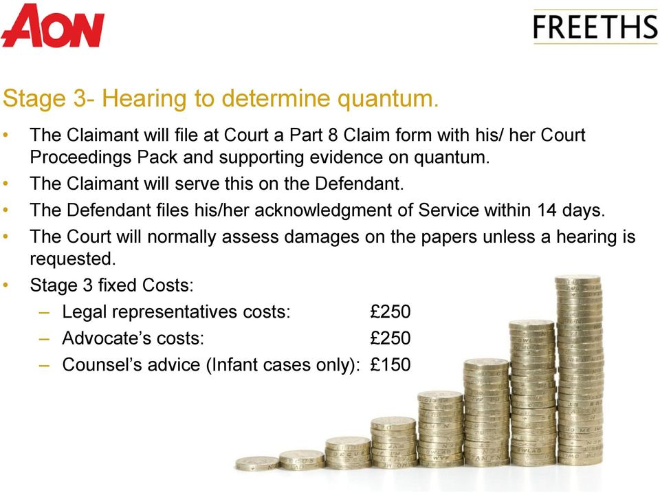 quantum. The Claimant will serve this on the Defendant.
