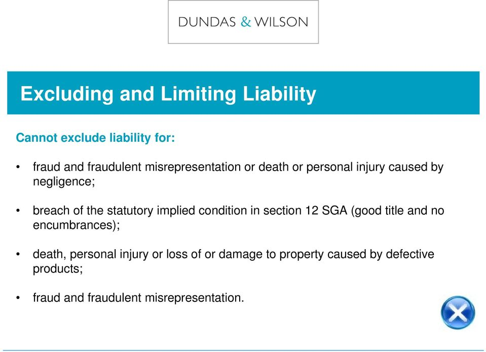 implied condition in section 12 SGA (good title and no encumbrances); death, personal injury