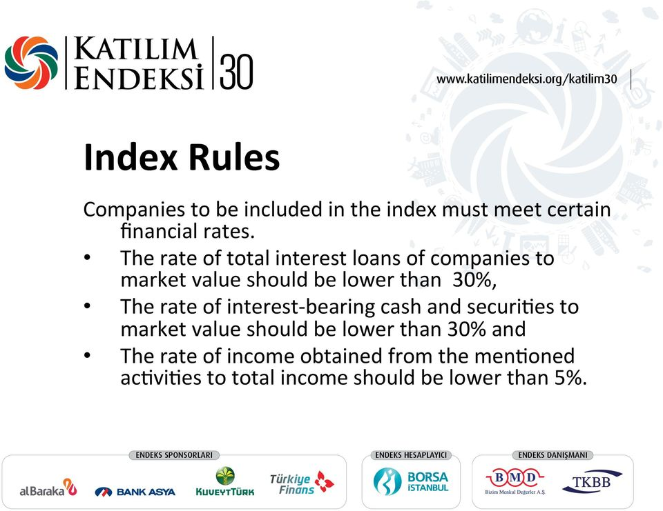 The rate of interest- bearing cash and securi8es to market value should be lower than 30%