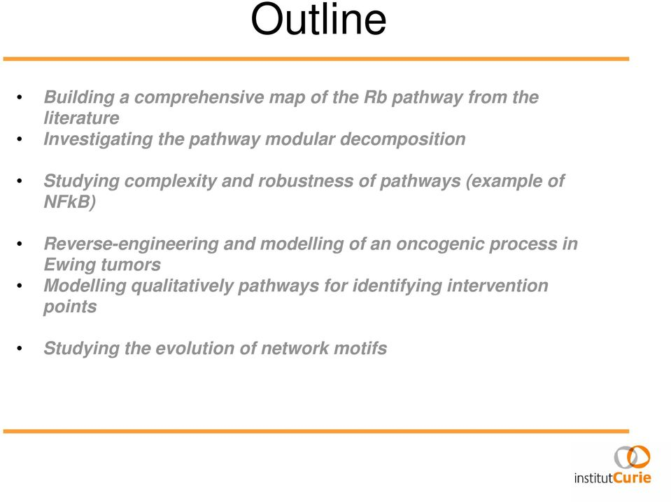 NFkB) Reverse-engineering and modelling of an oncogenic process in Ewing tumors Modelling
