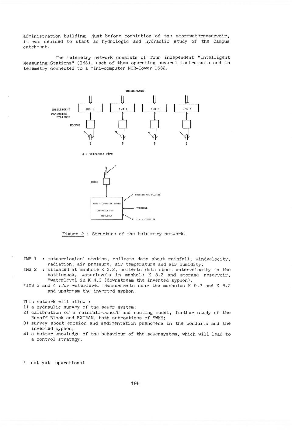 INSTRUMENTS IrlTELLIGF.NT MEASURING STATIONS g,. tel('phone wire,----'------,/ PRiflTE R AND Pl.OM'ER ('--------+ TERMINAL '------- J CDC - COMPUTER Figure 2 Structure of the telemetry network.