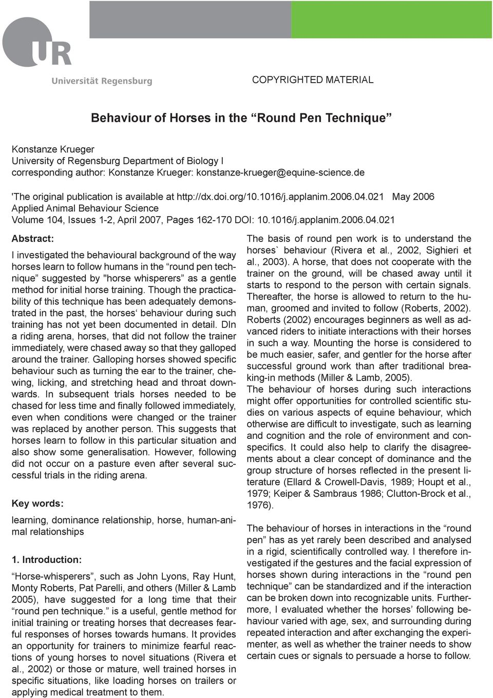 021 May 2006 Applied Animal Behaviour Science Volume 104,