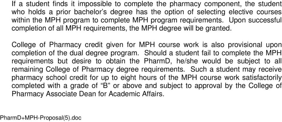 College of Pharmacy credit given for MPH course work is also provisional upon completion of the dual degree program.