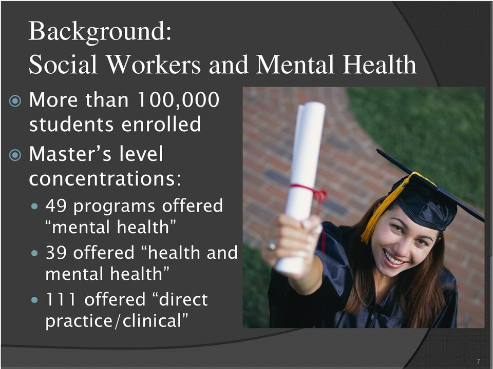 concentrations: 49 programs offered mental health 39