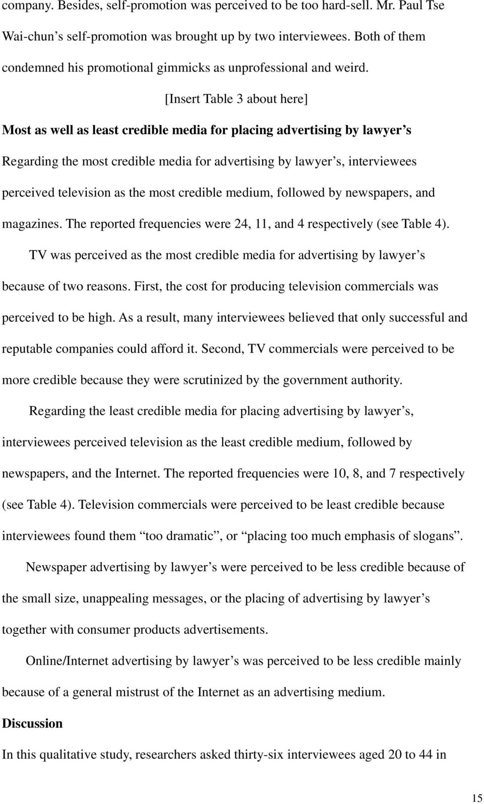 [Insert Table 3 about here] Most as well as least credible media for placing advertising by lawyer s Regarding the most credible media for advertising by lawyer s, interviewees perceived television