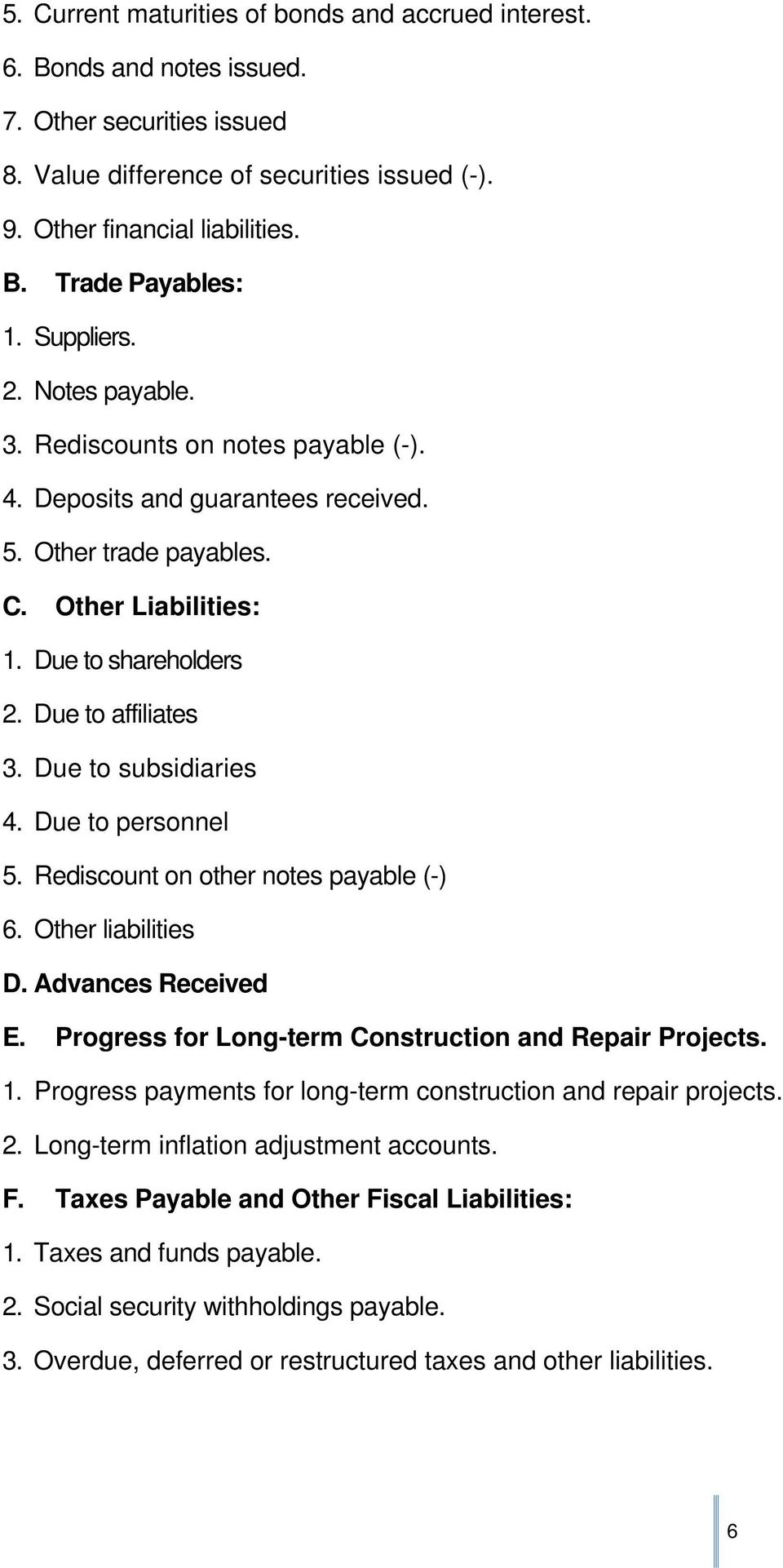 Due to subsidiaries 4. Due to personnel 5. Rediscount on other notes payable (-) 6. Other liabilities D. Advances Received E. Progress for Long-term Construction and Repair Projects. 1.