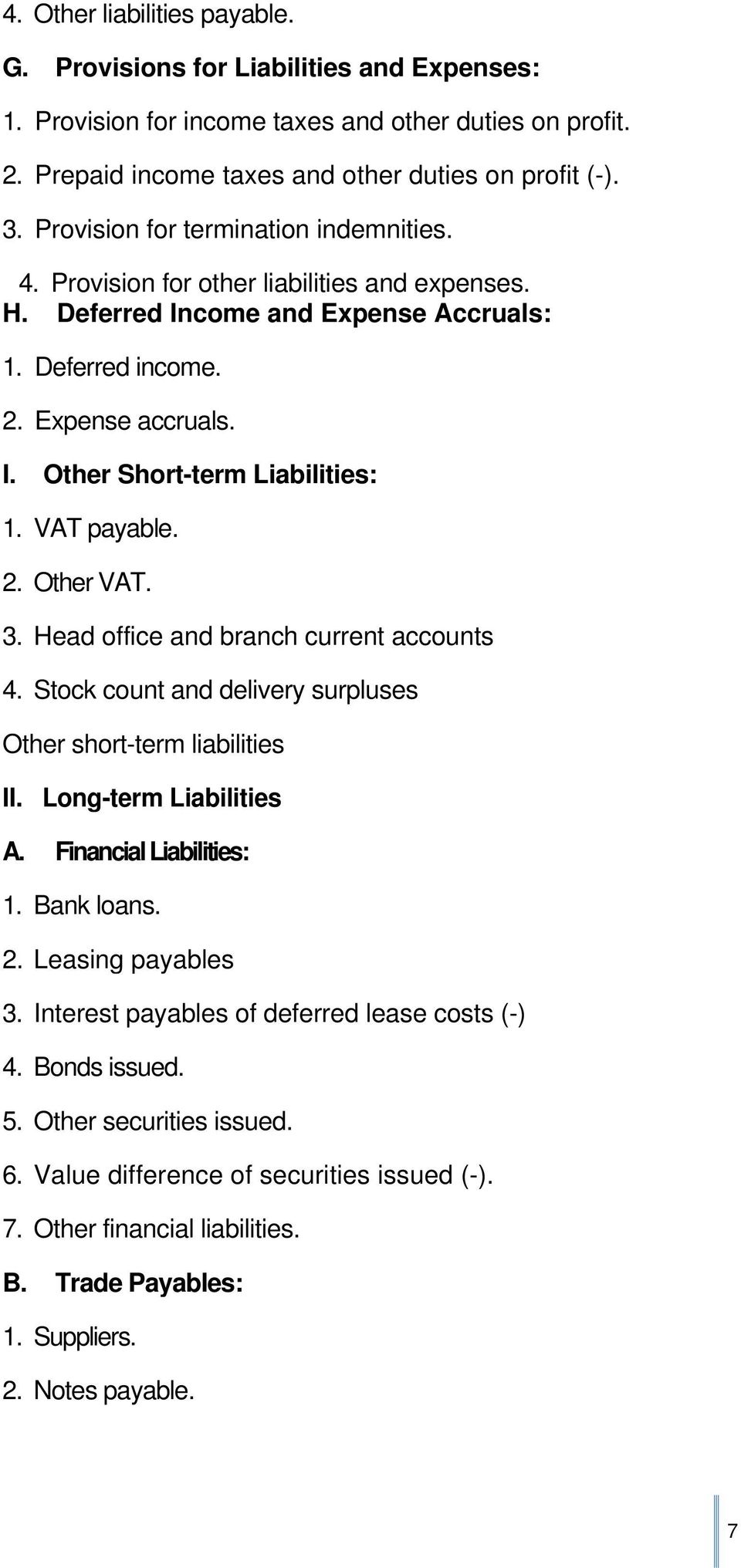 VAT payable. 2. Other VAT. 3. Head office and branch current accounts 4. Stock count and delivery surpluses Other short-term liabilities II. Long-term Liabilities A. Financial Liabilities: 1.