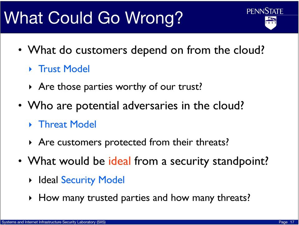 Who are potential adversaries in the cloud?
