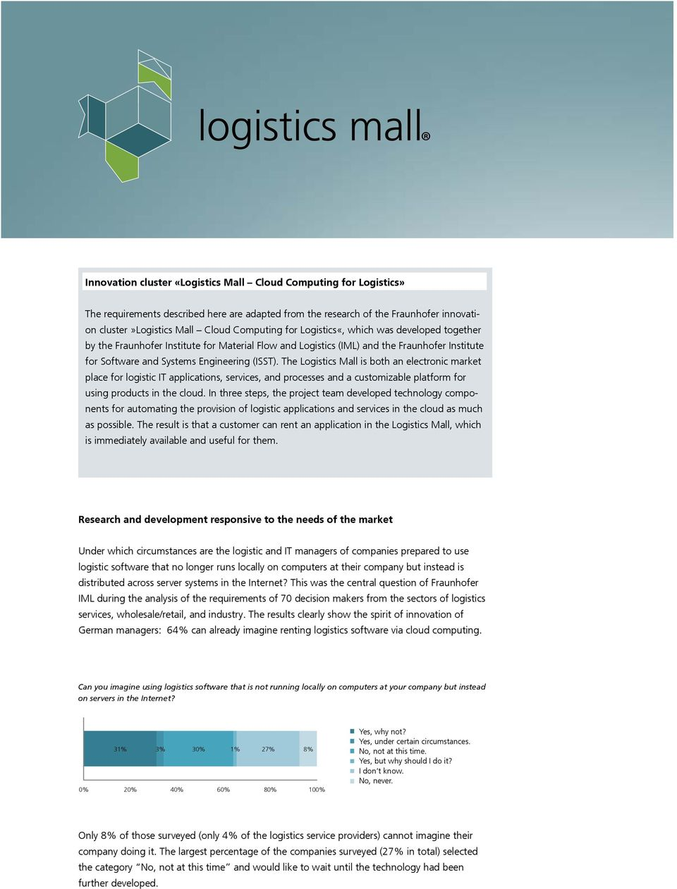 The Logistics Mall is both an electronic market place for logistic IT applications, services, and processes and a customizable platform for using products in the cloud.