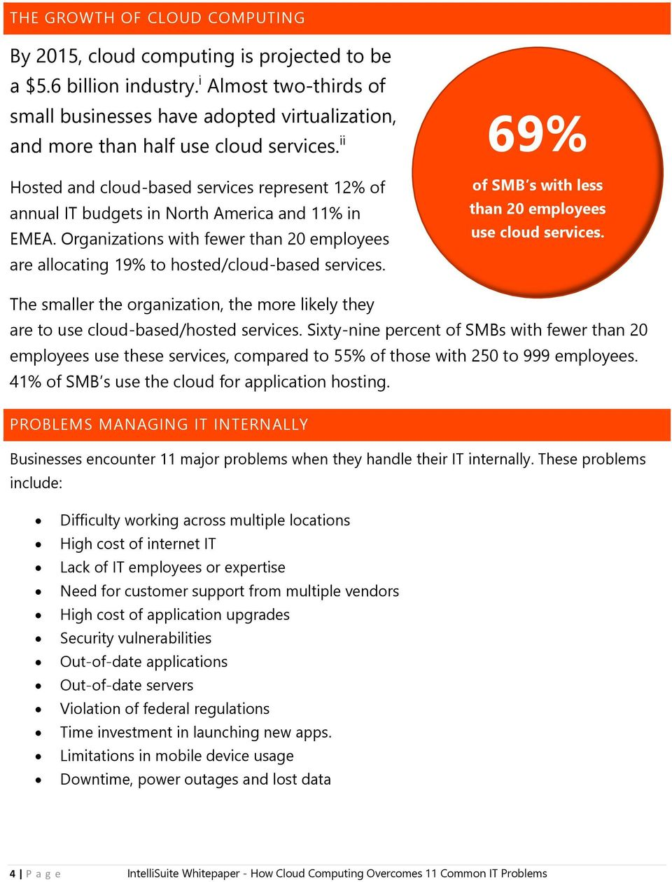 ii Hosted and cloud-based services represent 12% of annual IT budgets in North America and 11% in EMEA. Organizations with fewer than 20 employees are allocating 19% to hosted/cloud-based services.