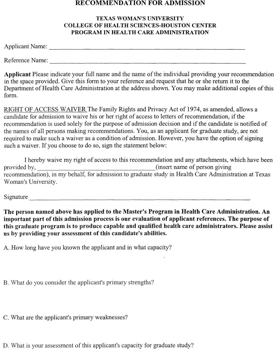 Give this form to your reference and request that he or she return it to the Department ofhealth Care Administration at the address shown. You may make additional copies of this form.