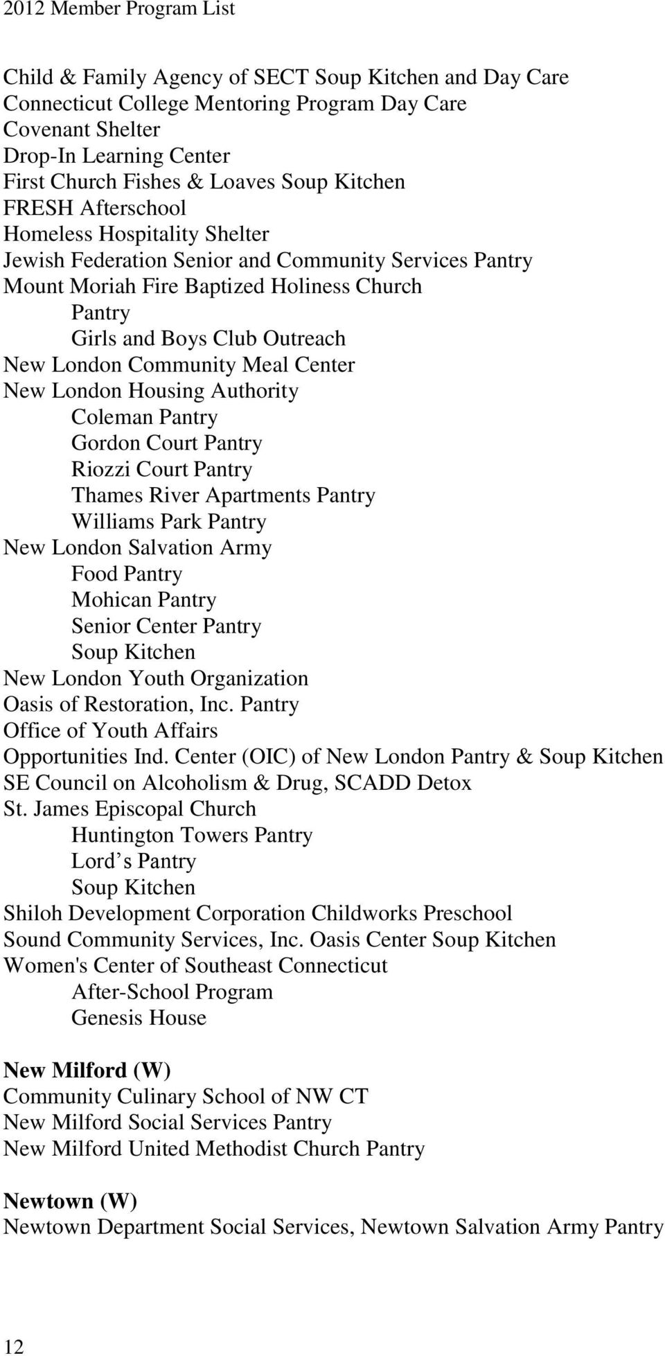 Meal Center New London Housing Authority Coleman Pantry Gordon Court Pantry Riozzi Court Pantry Thames River Apartments Pantry Williams Park Pantry New London Salvation Army Food Pantry Mohican