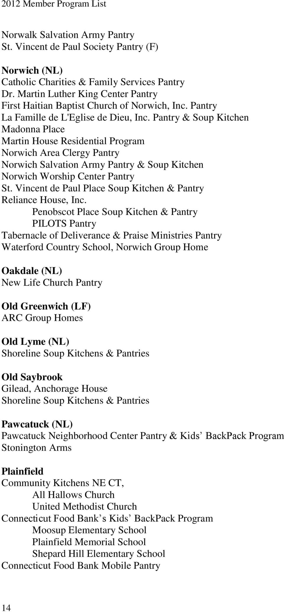 Pantry & Soup Kitchen Madonna Place Martin House Residential Program Norwich Area Clergy Pantry Norwich Salvation Army Pantry & Soup Kitchen Norwich Worship Center Pantry St.
