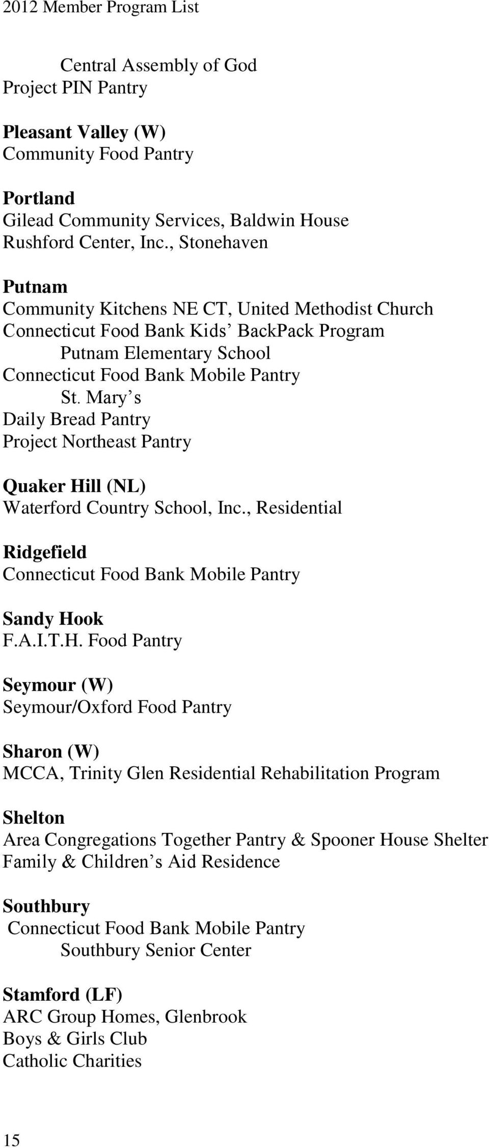 Mary s Daily Bread Pantry Project Northeast Pantry Quaker Hi