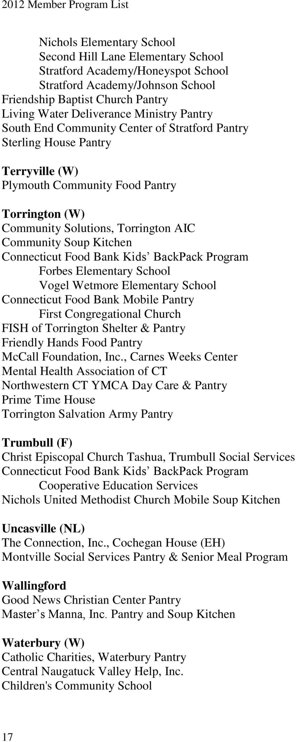 Forbes Elementary School Vogel Wetmore Elementary School First Congregational Church FISH of Torrington Shelter & Pantry Friendly Hands Food Pantry McCall Foundation, Inc.