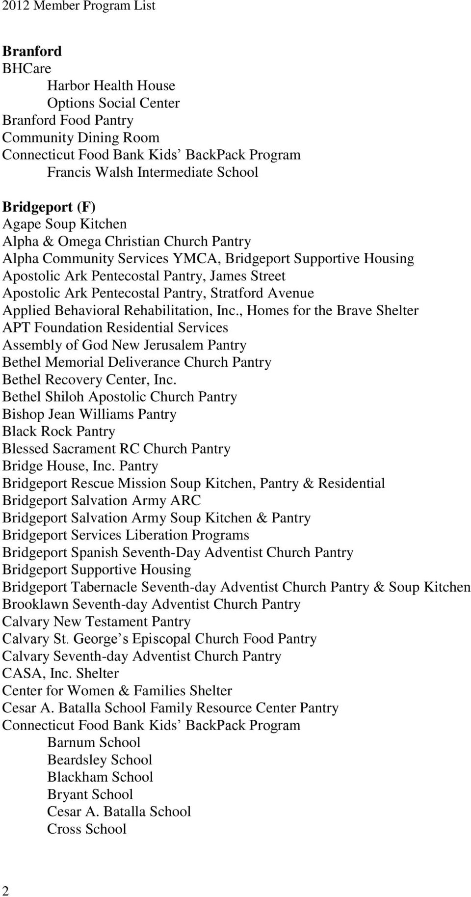 Rehabilitation, Inc., Homes for the Brave Shelter APT Foundation Residential Services Assembly of God New Jerusalem Pantry Bethel Memorial Deliverance Church Pantry Bethel Recovery Center, Inc.