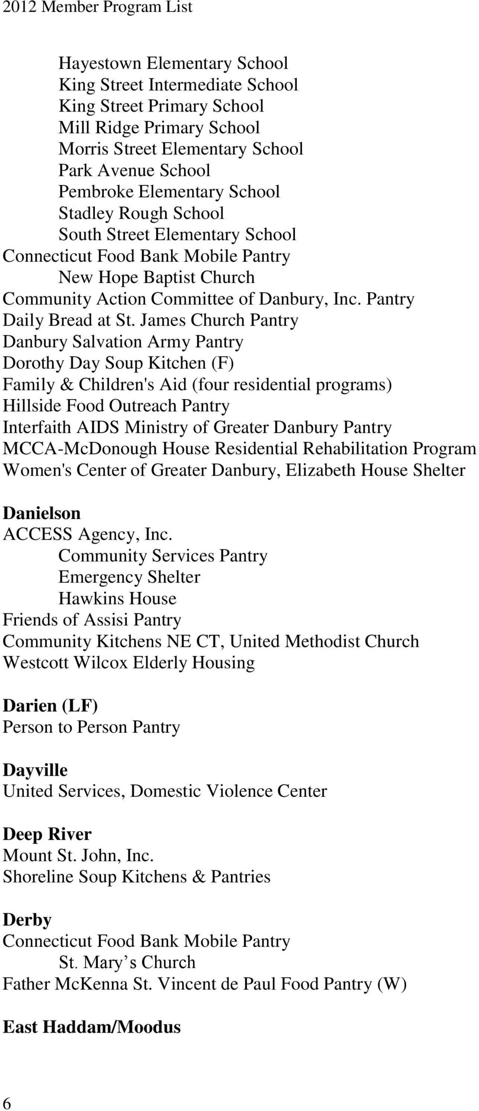 James Church Pantry Danbury Salvation Army Pantry Dorothy Day Soup Kitchen (F) Family & Children's Aid (four residential programs) Hillside Food Outreach Pantry Interfaith AIDS Ministry of Greater