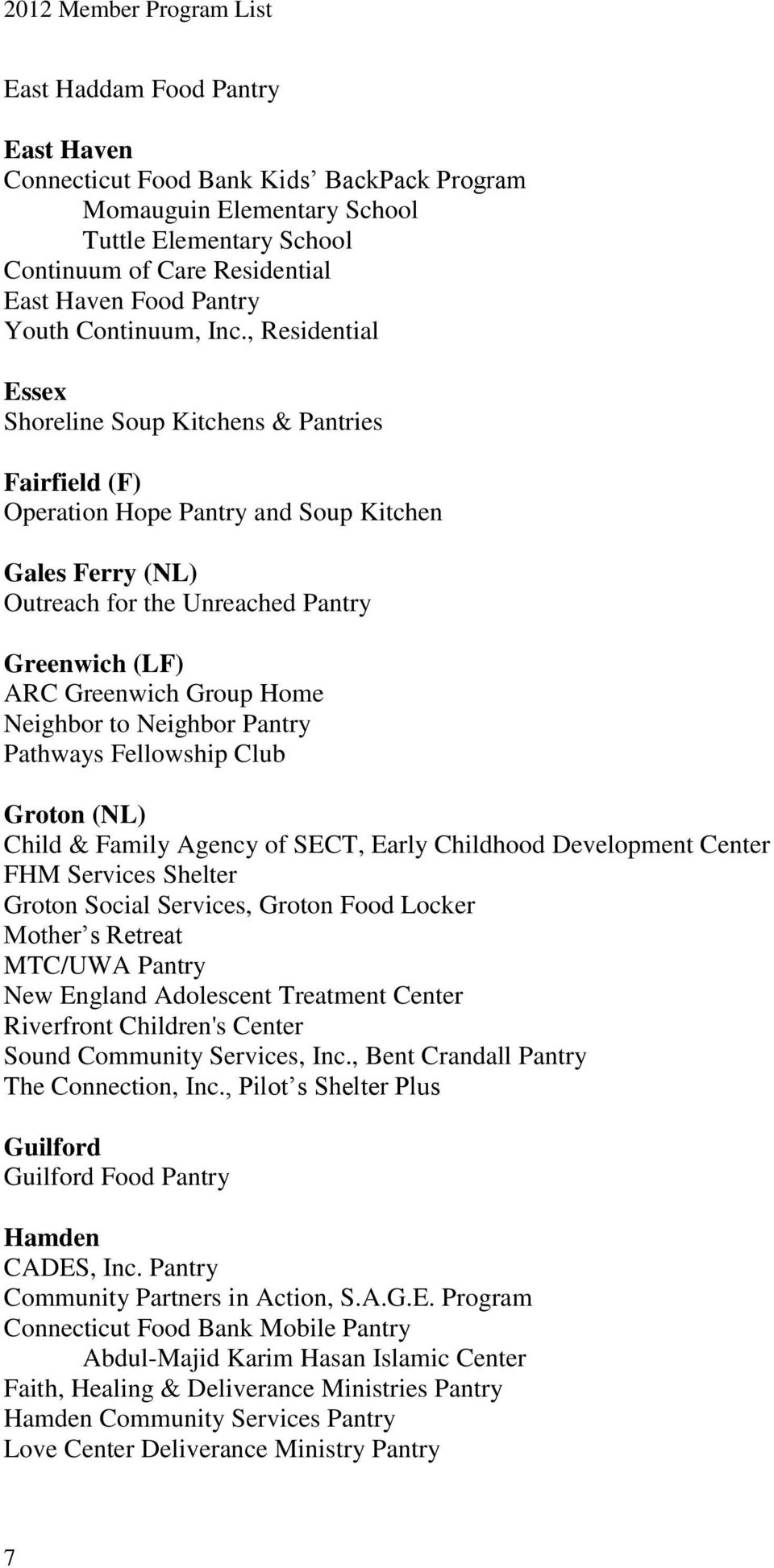 Neighbor to Neighbor Pantry Pathways Fellowship Club Groton (NL) Child & Family Agency of SECT, Early Childhood Development Center FHM Services Shelter Groton Social Services, Groton Food Locker