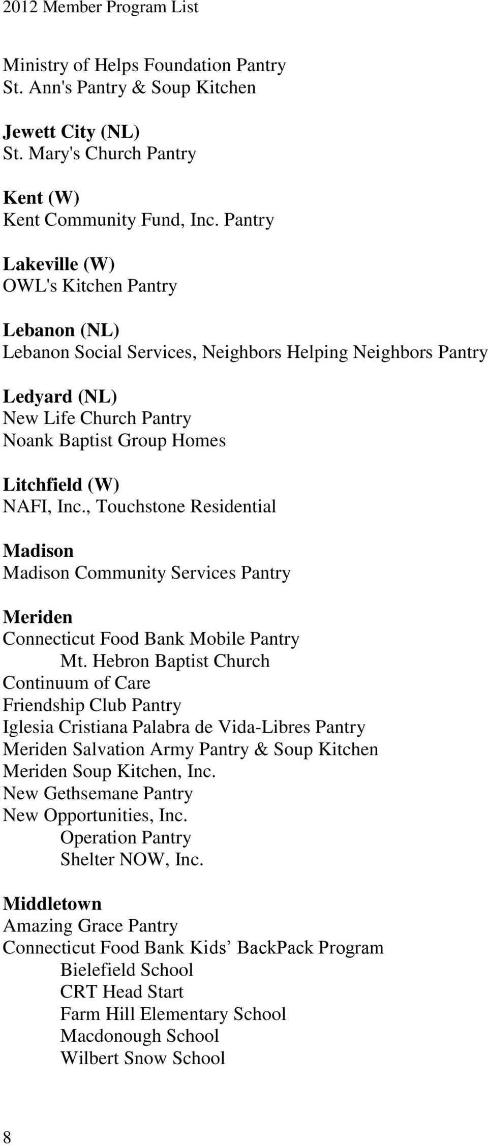 Inc., Touchstone Residential Madison Madison Community Services Pantry Meriden Mt.