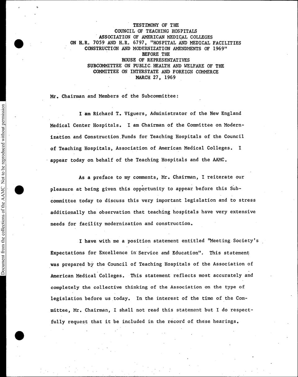 HEALTH AND WELFARE OF THE COMMITTEE ON INTERSTATE AND FOREIGN COMMERCE MARCH 27, 1969 Ms. Chairman and Members of the Subcommittee: S. I am Richard T.