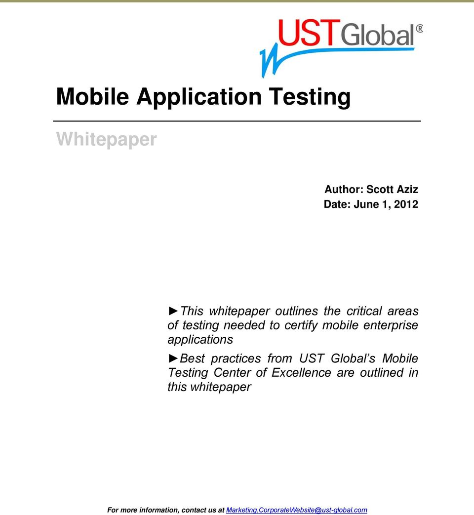 applications Best practices from UST Global s Mobile Testing Center of Excellence are