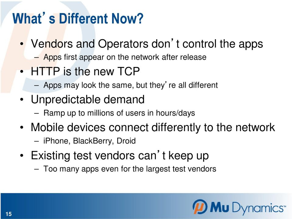 the new TCP Apps may look the same, but they re all different Unpredictable demand Ramp up to millions