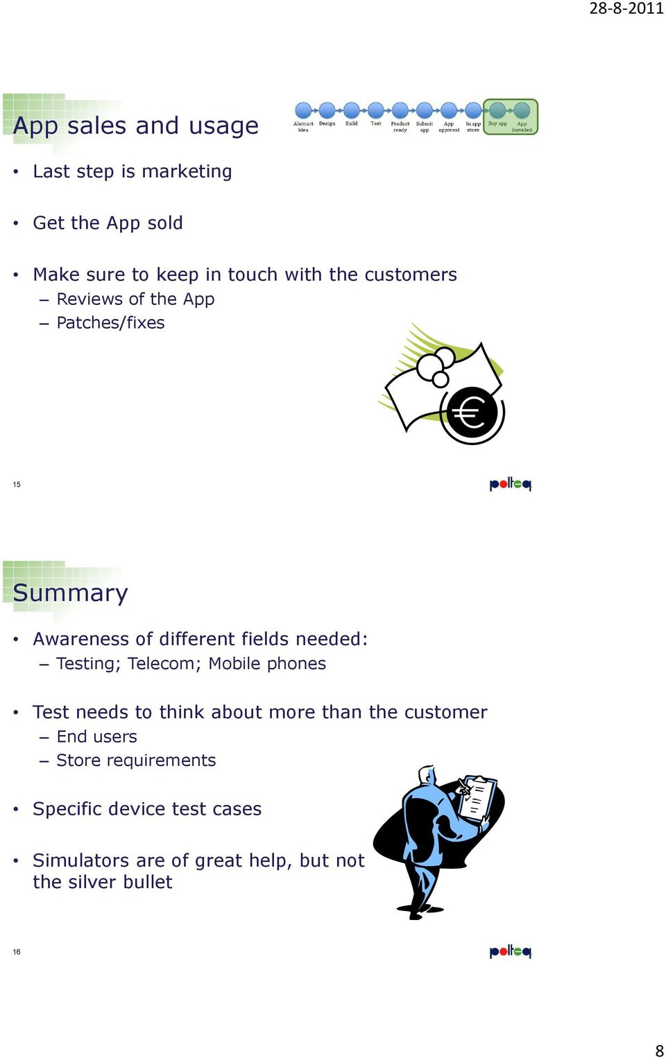 Testing; Telecom; Mobile phones Test needs to think about more than the customer End users Store