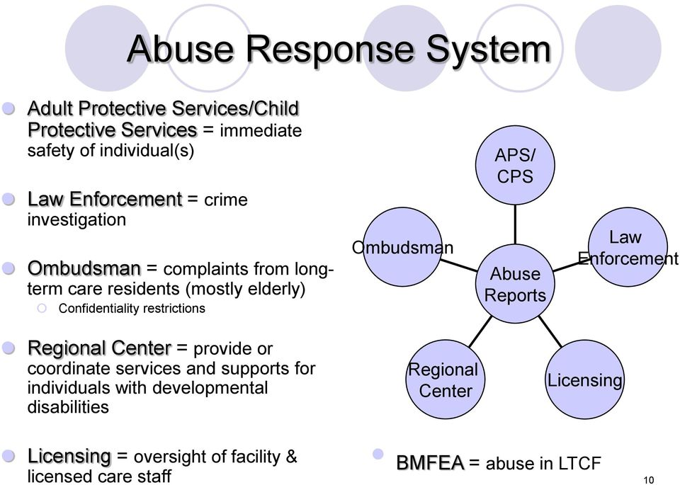 APS/ CPS Abuse Reports Law Enforcement Regional Center = provide or coordinate services and supports for individuals with