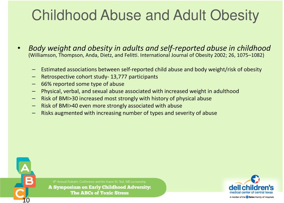 study- 13,777 participants 66% reported some type of abuse Physical, verbal, and sexual abuse associated with increased weight in adulthood Risk of BMI>30