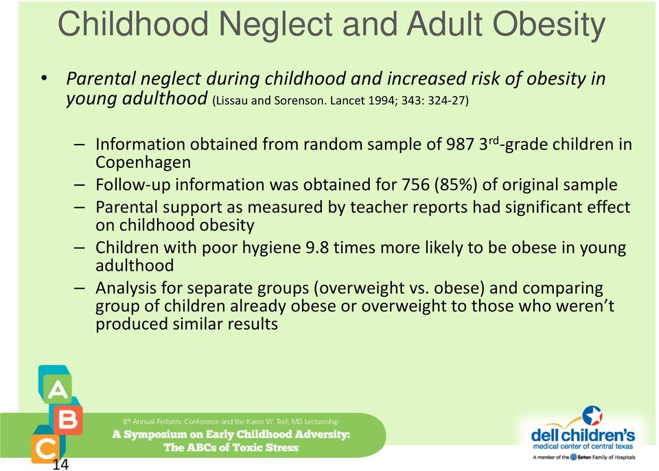 original sample Parental support as measured by teacher reports had significant effect on childhood obesity Children with poor hygiene 9.