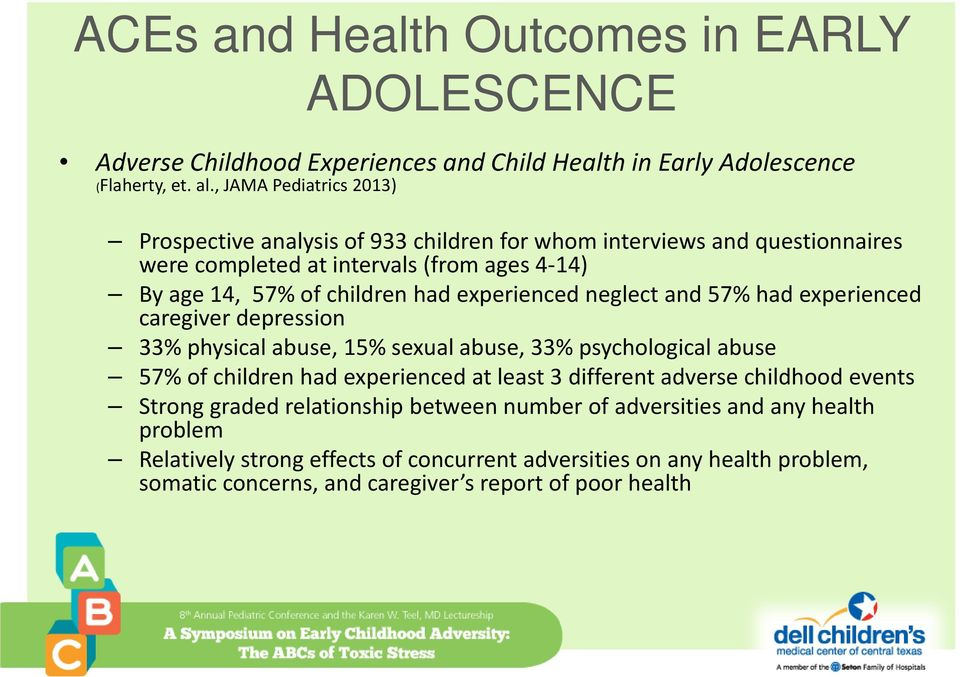 experienced neglect and 57% had experienced caregiver depression 33% physical abuse, 15% sexual abuse, 33% psychological abuse 57% of children had experienced at least 3 different
