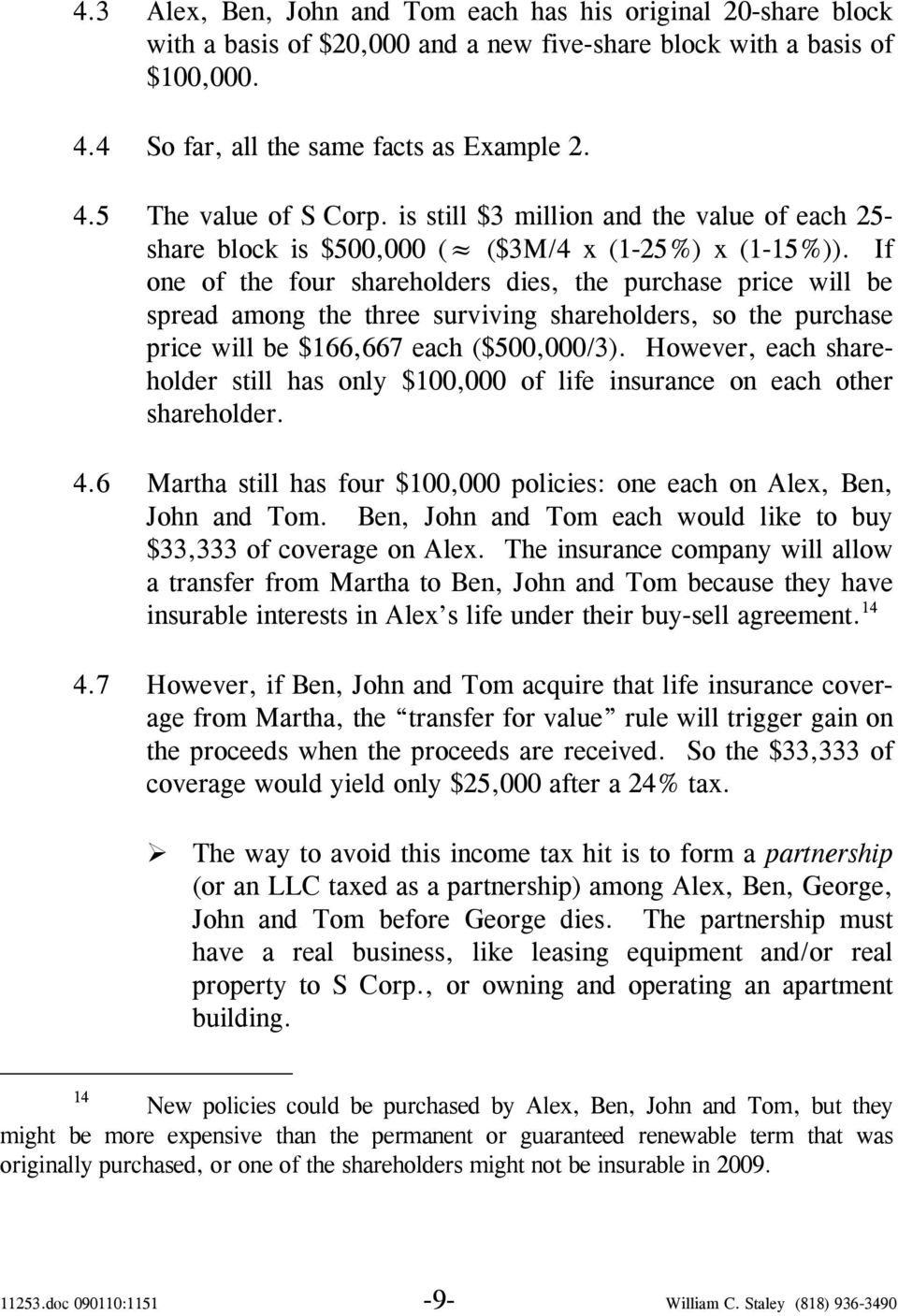 If one of the four shareholders dies, the purchase price will be spread among the three surviving shareholders, so the purchase price will be $166,667 each ($500,000/3).