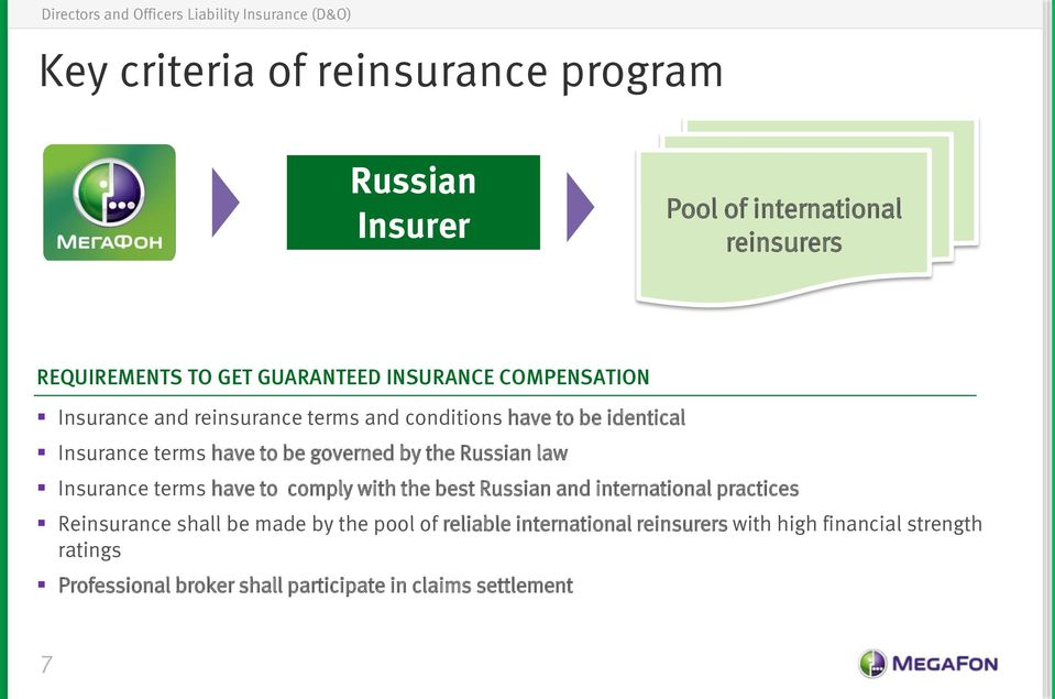 Russian law Insurance terms have to comply with the best Russian and international practices Reinsurance shall be made by the
