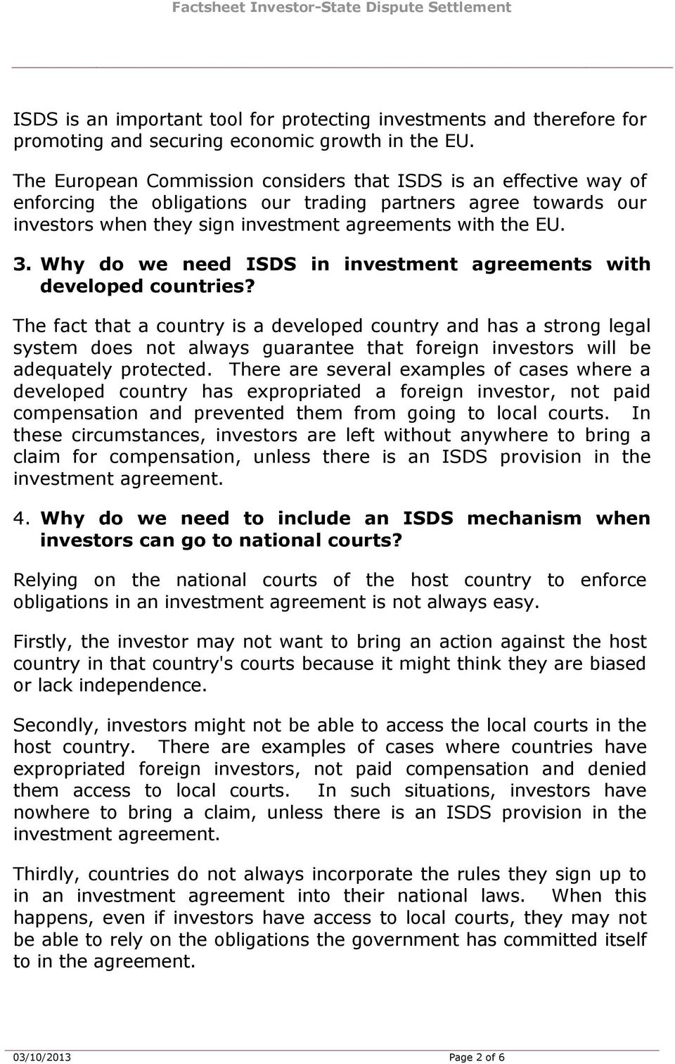 Why do we need ISDS in investment agreements with developed countries?
