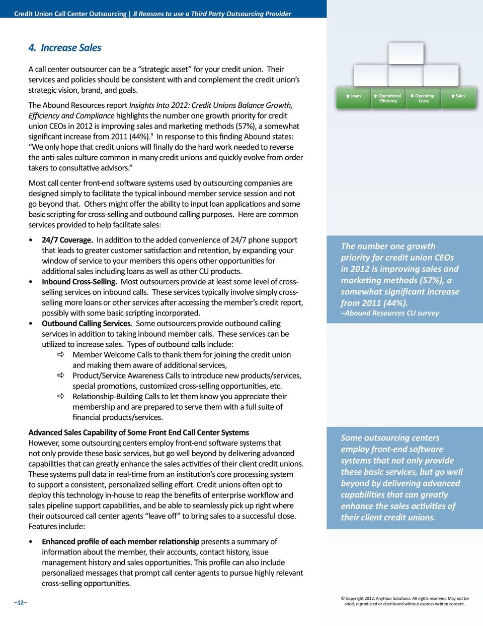The Abound Resources report Insights Into 2012: Credit Unions Balance Growth, Efficiency and Compliance highlights the number one growth priority for credit union CEOs in 2012 is improving sales and
