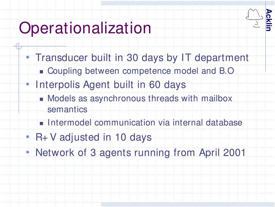 O Interpolis Agent built in 60 days Models as asynchronous threads with