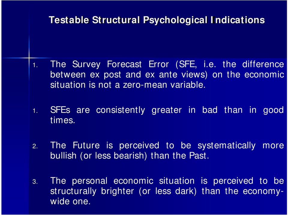 The Future is perceived to be systematically more bullish (or less bearish) than the Past. 3.