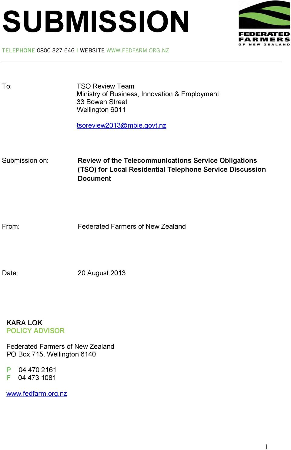 nz Submission on: Review of the Telecommunications Service Obligations (TSO) for Local Residential Telephone
