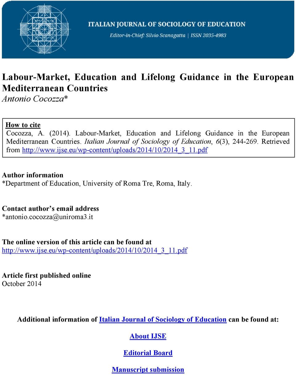 eu/wp-content/uploads/2014/10/2014_3_11.pdf Author information *Department of Education, University of Roma Tre, Roma, Italy. Contact author s email address *antonio.cocozza@uniroma3.
